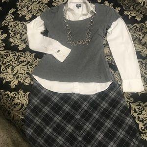 GAP Gray Plaid Skirt